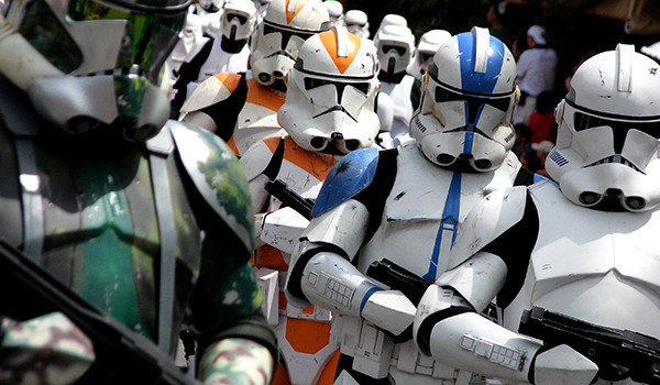 group of storm troopers marching with weapons
