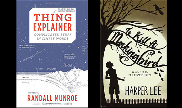 composite image of two book covers: 'Thing Explainer' and 'To Kill A Mockingbird'