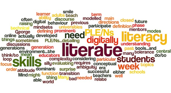 literacy word cloud surrounded by descriptive words